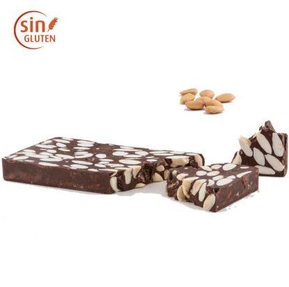 Turrón de chocolate negro con almendra Sin azúcar